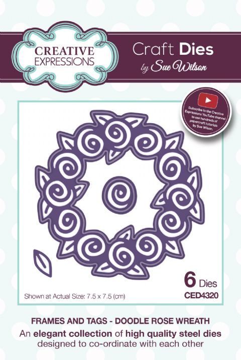 FRAMES & TAGS COLLECTION - Doodle Rose Wreath CED4320 by Sue Wilson